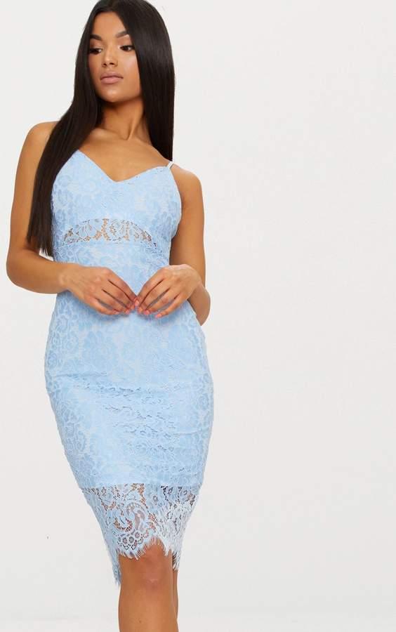 PrettyLittleThing Pale Blue Lace Plunge Midi Dress