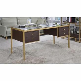Everly Quinn Bosworth Glass Desk