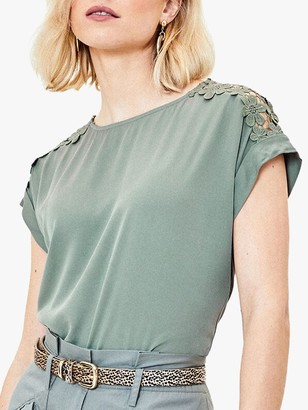 Oasis Floral Lace Trim T-Shirt
