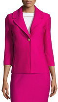 St. John Honeycomb-Knit 3/4-Sleeve Jacket, Orchid