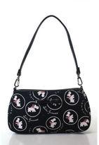 Lulu Guinness Black White Dog Print Canvas Handbag