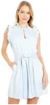 Kate Spade Denim Ruffle Dress (Indigo) Women's Dress