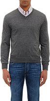 Brunello Cucinelli Men's Tipped V-neck Sweater-GREY