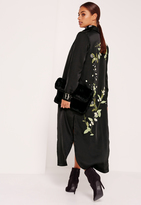 Missguided Petite Embroidered Satin Duster Jacket Black