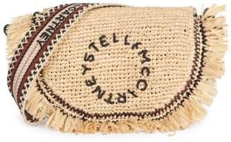Stella McCartney Logo Raffia Flap Shoulder Bag