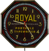 Rejuvenation Royal Typewriter Advertisement Spinner Clock by Neon Products