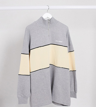Collusion Plus funnel neck sweat dress in grey marl