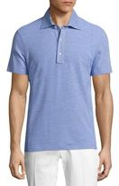 Isaia Heathered Cotton Polo