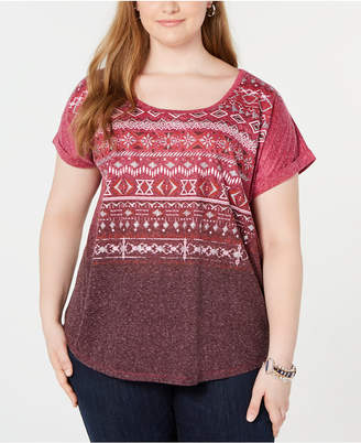 Style&Co. Style & Co Printed Dolman-Sleeve Top
