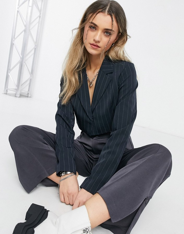 Thumbnail for your product : Collusion cropped pinstripe blazer