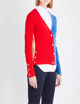 Thom Browne Colour-block knitted cashmere cardigan