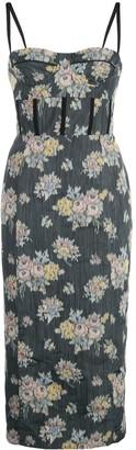 Brock Collection Bustier Pencil Floral Midi Dress