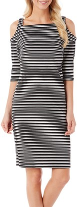 Gabby Skye Women's 3/4 Sleeved Cold Shoulder Striped Sheath Dress