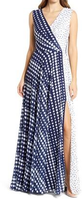 Tadashi Shoji Mix Dot Print Sleeveless Chiffon Gown