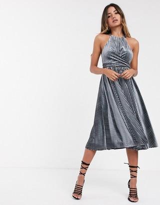 Ted Baker Cyleste velvet sleeveless wrap dress-Blue