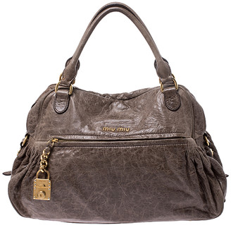 Miu Miu Dark Beige Leather Lily Distressed Satchel
