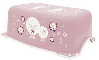 Camilla And Marc BIECO 11181703 - Children Step Stool Trend, Pink, Sheep Motif and Anti-Slip Function, Single-Stage, Step Height 14 cm, from 12 Months to About 10 Years
