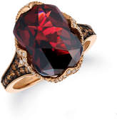 Zales Le VianA Baguette Pomegranate Garneta and 1/2 CT. T.W. Diamond Ring in 14K Strawberry GoldA