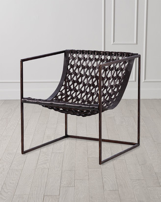 Global Views Knit & Pearl Leather Accent Chair