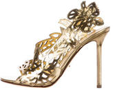 Sergio Rossi Cutout Metallic Sandals