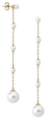 Majorica Goldplated Sterling Silver & 5MM-12MM White Pearl Linear Drop Earrings