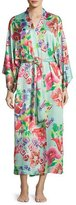 Natori Star Blossom Long Satin Robe, Blue Pattern