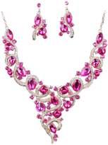MonkeyJack Crystal Faux Diamond Exaggerated Women Bride Statement Necklace Earrings Set