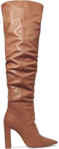 Alexandre Birman Anna Leather Knee Boots - Tan