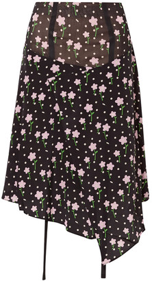 Sandy Liang Norman Floral-print Silk Crepe De Chine Skirt