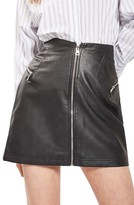 Topshop Women's Zip Faux Leather Miniskirt