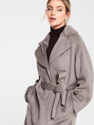 Whistles Darcey Drawn Belted Wrap Coat - Grey
