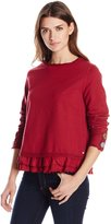 Neon Buddha Women's Cape Side Pullover Shirt with Ruffle Trim