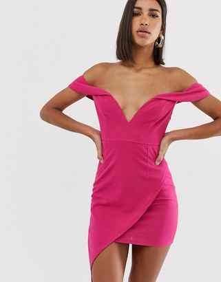 Bardot Love Triangle scuba plunge mini dress with asymmetric wrap skirt in raspberry