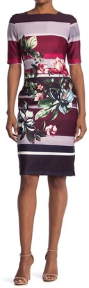 Gabby Skye Floral Stripe Elbow Sleeve Scuba Sheath Dress