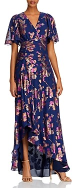 Shoshanna Minka Silk-Blend Metallic Floral Dress