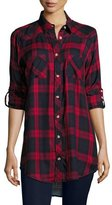 Tolani Tina Plaid Boyfriend Shirt, Red, Plus Size