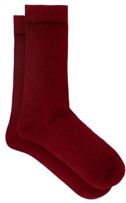 Falke Soft Wool And Cotton-blend Socks - Burgundy