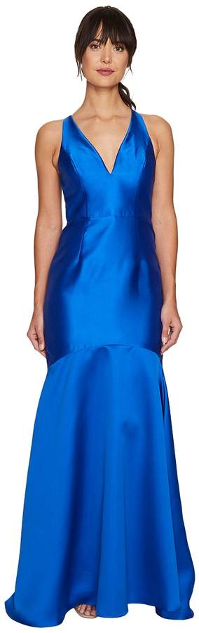 Adrianna Papell Mikado Plunging Neck Mermaid Gown Women's Dress