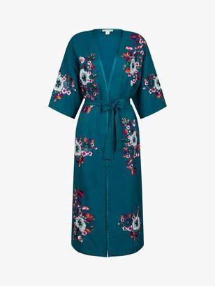 Monsoon Lucia Floral Print Kimono, Teal