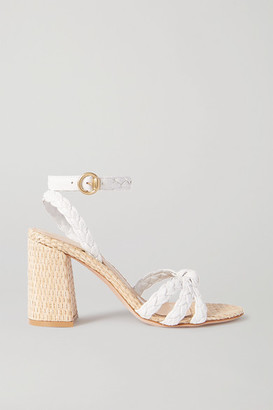 Gianvito Rossi 85 Woven Leather And Raffia Sandals - White