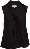 Très Jolie Women's Blouses BLACK - Black Tie-Neck Sleeveless Top - Women