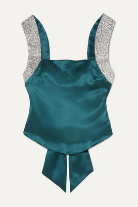 HARMUR Open-back Glittered Silk-satin Top - Petrol