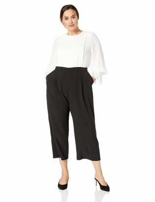 Maggy London Plus Size Women's Color Block Crepe Long Sleeve Jumpsuit