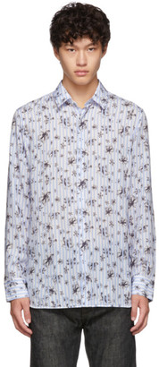 Neil Barrett Blue and White Striped Floral All-Over Shirt