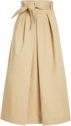 Martin Grant Belted Pleated Cotton-Gabardine Midi Skirt