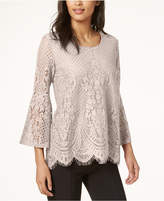 Alfani Lace Lantern-Sleeve Top, Created for Macy's