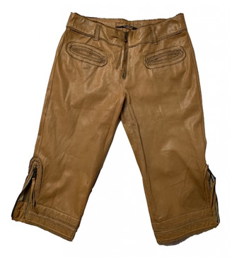 Plein Sud Jeans Camel Leather Trousers