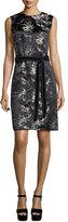 Marc Jacobs Sleeveless Cherry Blossom Sheath Dress, Gold/Multi