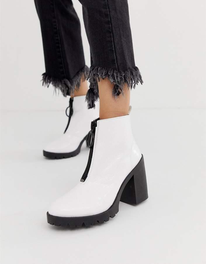 ed19655580f Design DESIGN Rakel patent chunky heeled boots in white croc