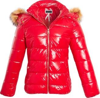 shelikes Womens Winetr Coat Wet Look Faux Fur Hooded Coat Puffer Jacket (Red 14)